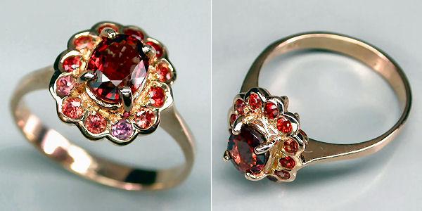 кольца с камнем шпинель