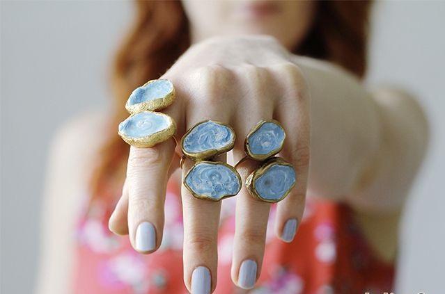 кольца с агатами