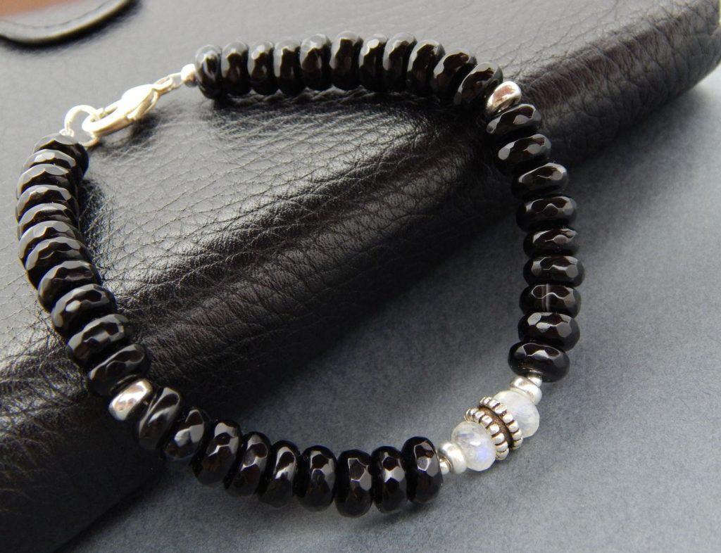 мужской черный браслет с ониксом