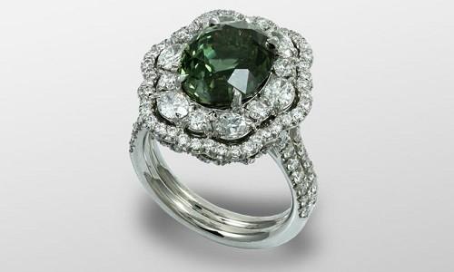 кольцо с зеленым сапфиром